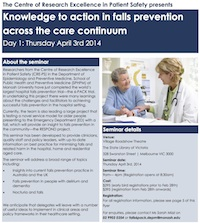 Centre of Research Excellence in Patient Safety April 14 Seminar